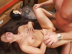 Sexy young girl fucking old man and doll