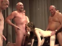Teen is getting laid with lots of old men
