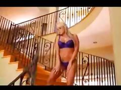 Blonde with sexy lingerie gives her pussy