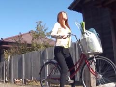 Cardigan cutie on a bike welcomes cock into her Japanese pussy