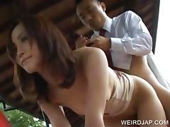 Asian banged by dude on the phone