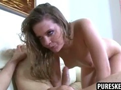 Sexy brunette honey sucking and fucking a hard cock