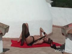 Godess in lingerie plays with cunt