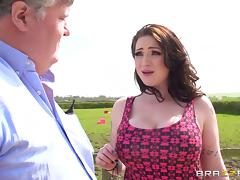 Farm girl with big tits can't resist city guys with huge cocks
