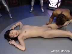 Tied up asian gets full body licked