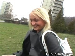 Blonde Girl Finger Fucking Herself On A Public Bench