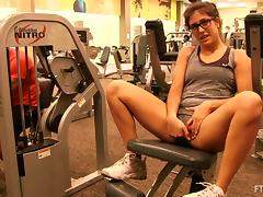 Sporty girl working out and showing us her tits