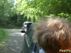 teen backseat banged in the forest