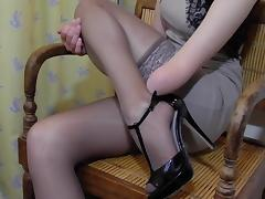 Arm Amputee putting on Stockings