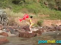 sweet joon cools off in the water