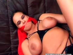 Busty slut gets her boobs whipped