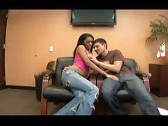 Ebony girl banged in the office