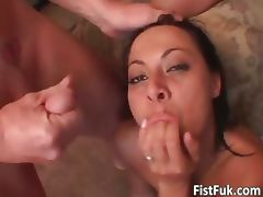 Hot milf getting fucked by three part1