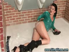 Glamorous girl cumblasted by toy cock at gloryhole