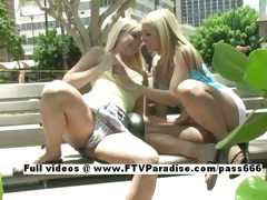 Sandy and Yana funny adorable lesbians public flashing