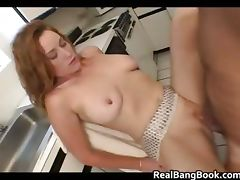 Curly busty redhead riding some jizzster part3