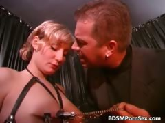 Hot tied brunette gets spanked and dildo