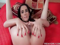 Slutty minx teases her two fuck holes