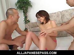 Hottie Airi Nakajima takes on two throbbing cocks at once