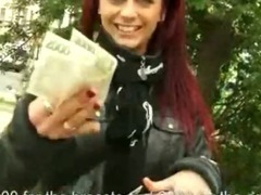Redhead amateur Czech girl anal cock riding for money