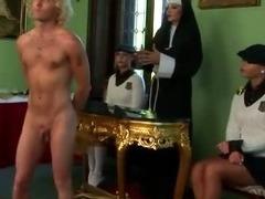 Femdom schoolgirls and their teacher spank loser