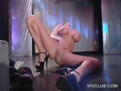 Busty pole stripper showing hot twat