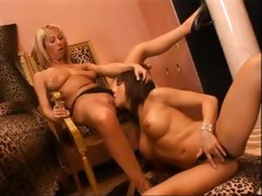 Amateur chicks licking and fisting pussy