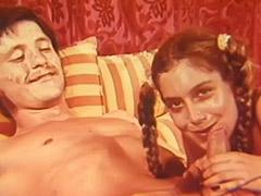 Teen in Pigtails Pleasing Her Man's Dick 1960
