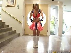 Busty Blonde Cheerleader Alanah Rae Blowjobs and Fucks
