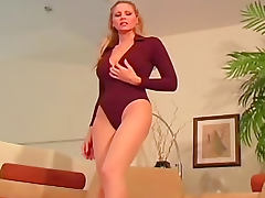 Julia Ann sheer pantyhose tease