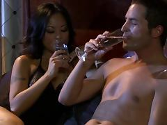Hairy Asian Babe Kaylani Lei Sucks Cock and Gets Fucked Doggy Style