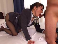 Yuuna Takizawa the Hot Stewardess Sucks two dicks