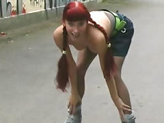 Rollerblading babe flashes in public