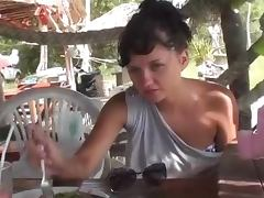 Nasty amateur showing her hot bald pussy in public