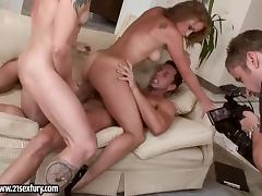 Beautiful Kathia Nobili fucks two guys and gets a facial cumshot