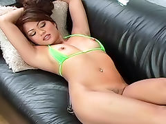Asian cutie Charmane Star is fucking her pussy