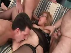 Chubby mature blonde gets balled by three men