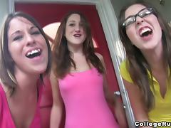 Three sexy chicks drive some guy crazy with their skills