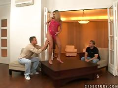 Horny Sarah James gets double penetrated instead of dinner