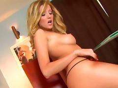 Hot blonde Carli Banks is banging her shaved hole