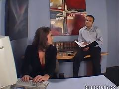 Sara Stone seduces her boss and enjoys riding his hard prick