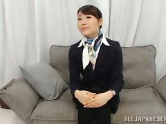 Sex addicted Japanese stewardess gets fingered and fucked