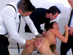 Cute babe Cathy Heaven fucks in a gangbang