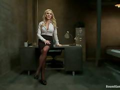 Blonde babe in stockings gets gangbanged by inmates