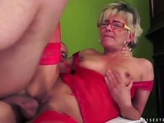 Skinny blonde granny gets fucked and facialed and enjoys it