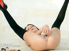 Glass dildo in extreme hole