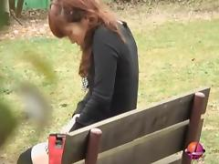 Park sharking experience with amorous brown-haired sweetie being exposed