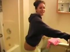 Young slut sucks old man in the bathroom