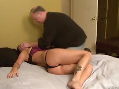 Tied up Brandy Aniston gets toyed by sex machine in a bedroom