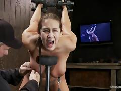 Busty Trina Michaels gets her pussy toyed and ass spanked